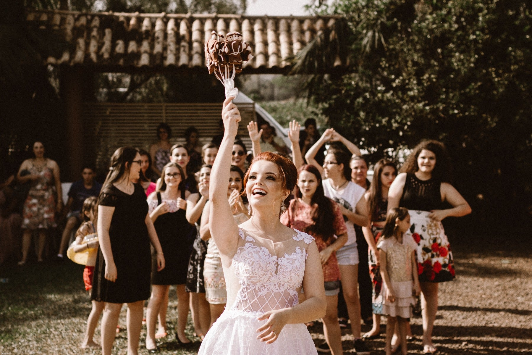 Wedding throwing bouquet
