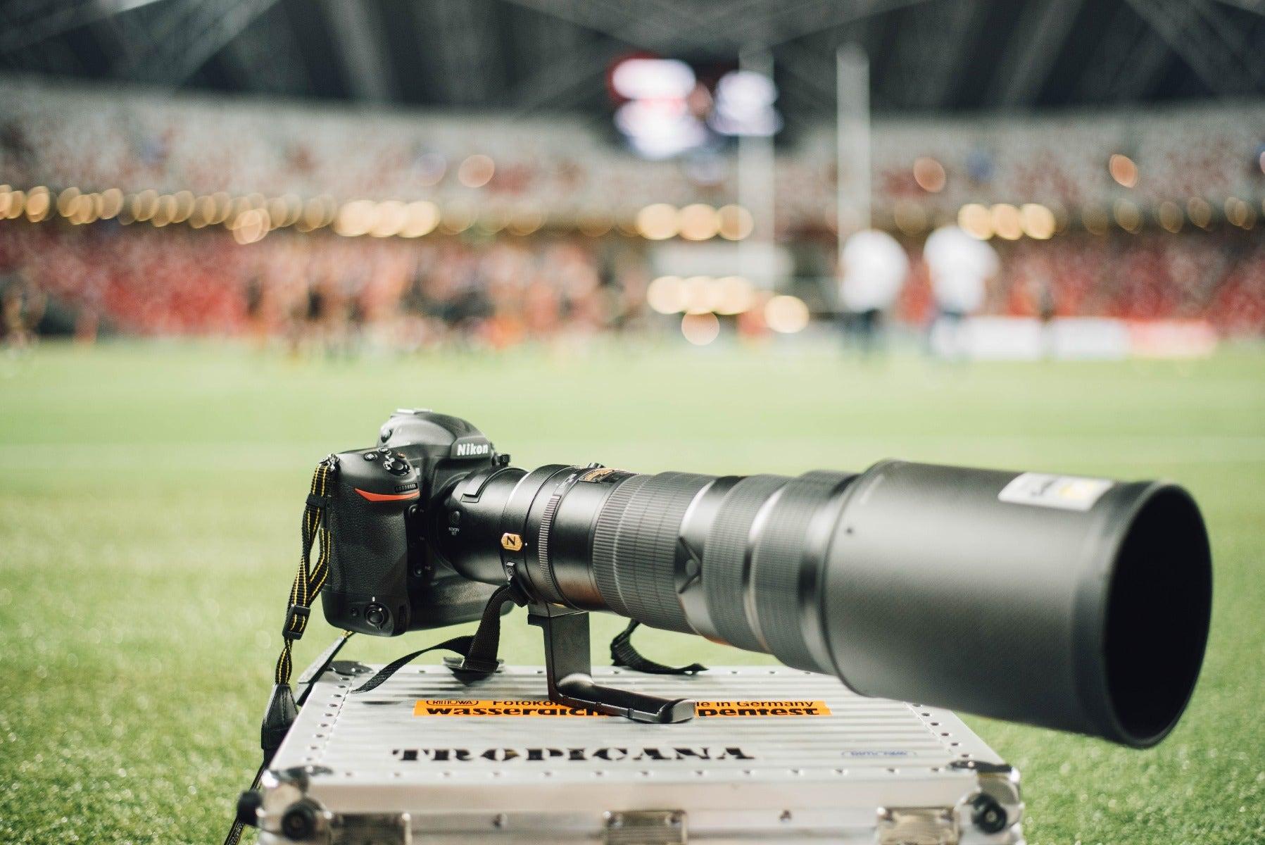 Nikon camera with telephoto lens