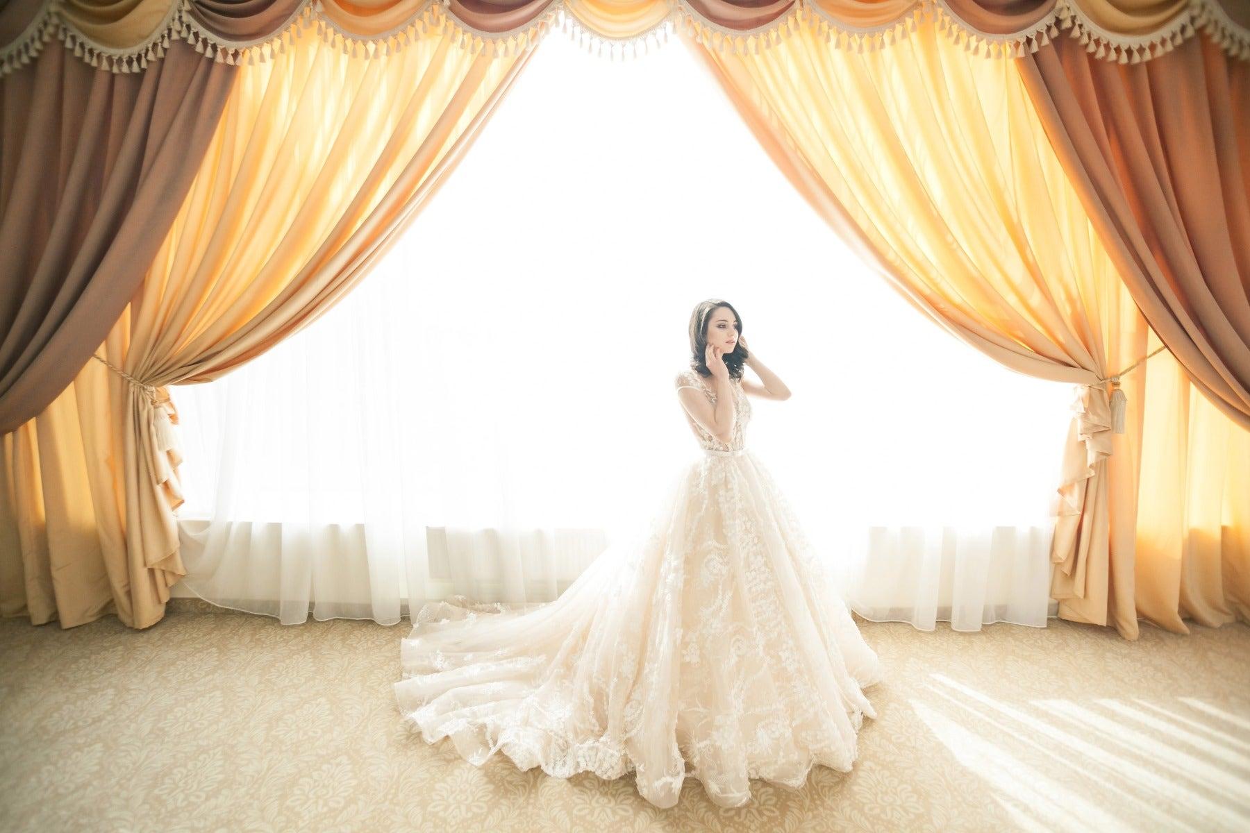 Bride in front of overexposed window