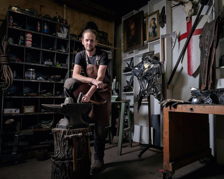 Flash photography of a blacksmith