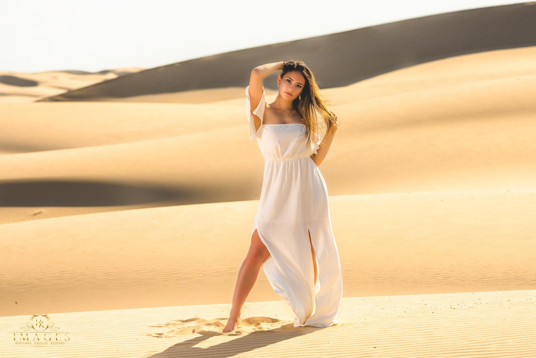 Environmental portrait with sand dunes