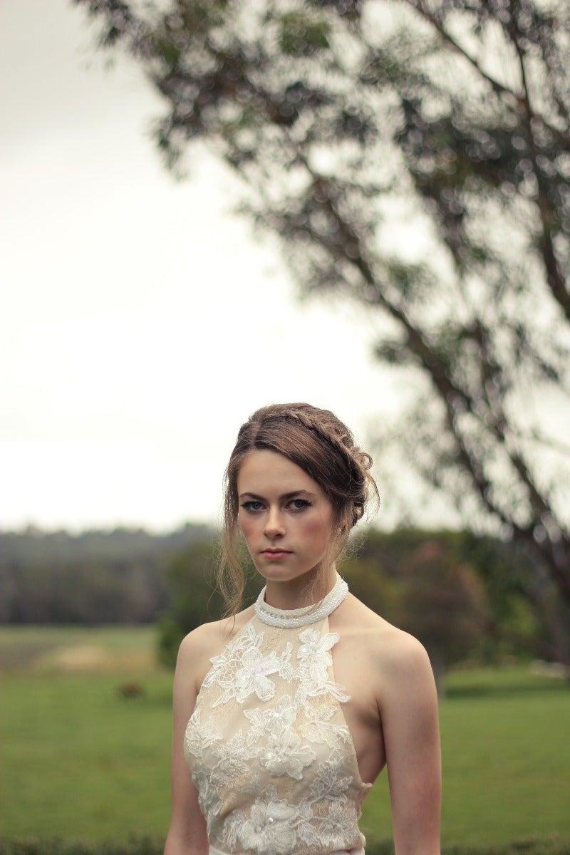 Bride posing ourdoors