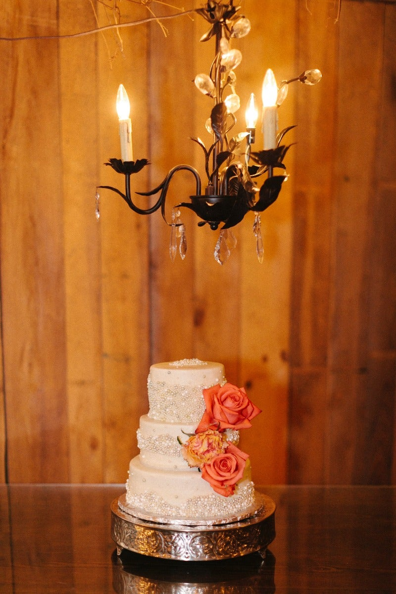 Wedding cake in rustic cottage