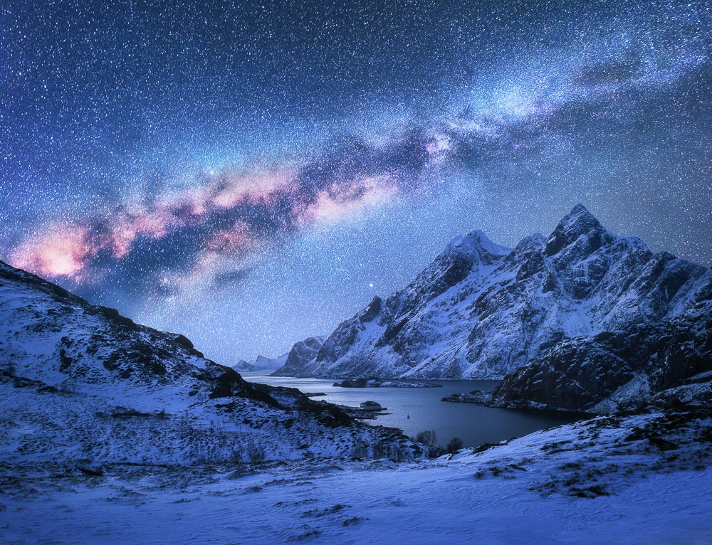 Milky Way over snowy mountains