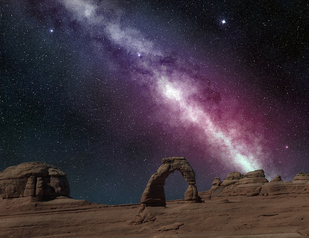 Milky Way over a rock outcropping