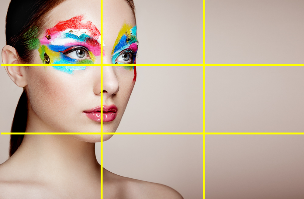 Portrait of woman with makeup with rule of thirds