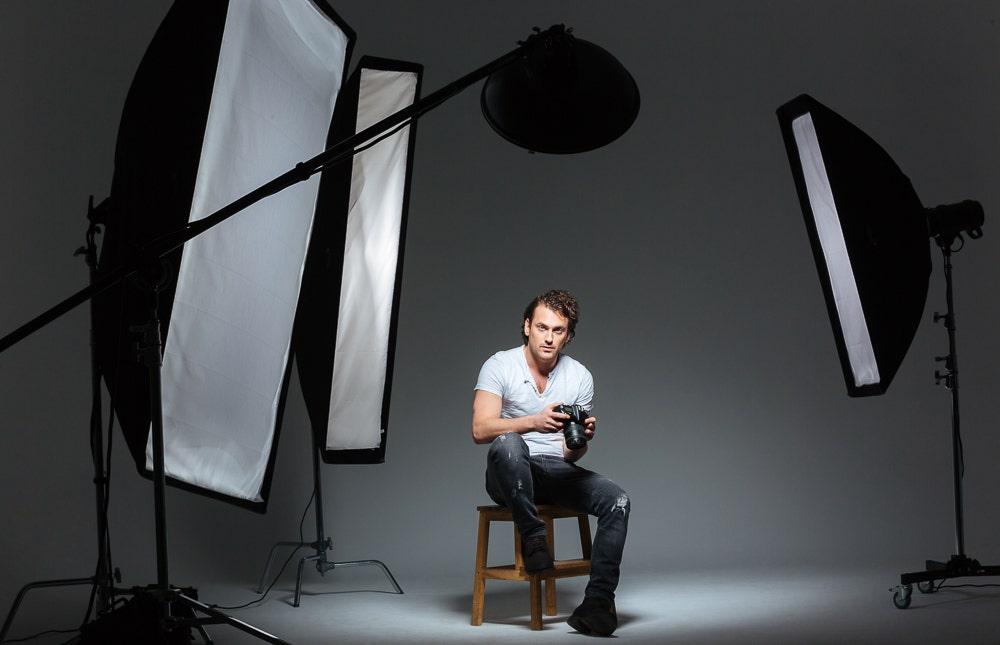 Photographer in a studio