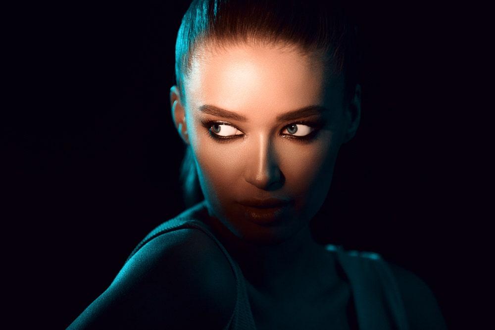 Dark photo of a woman