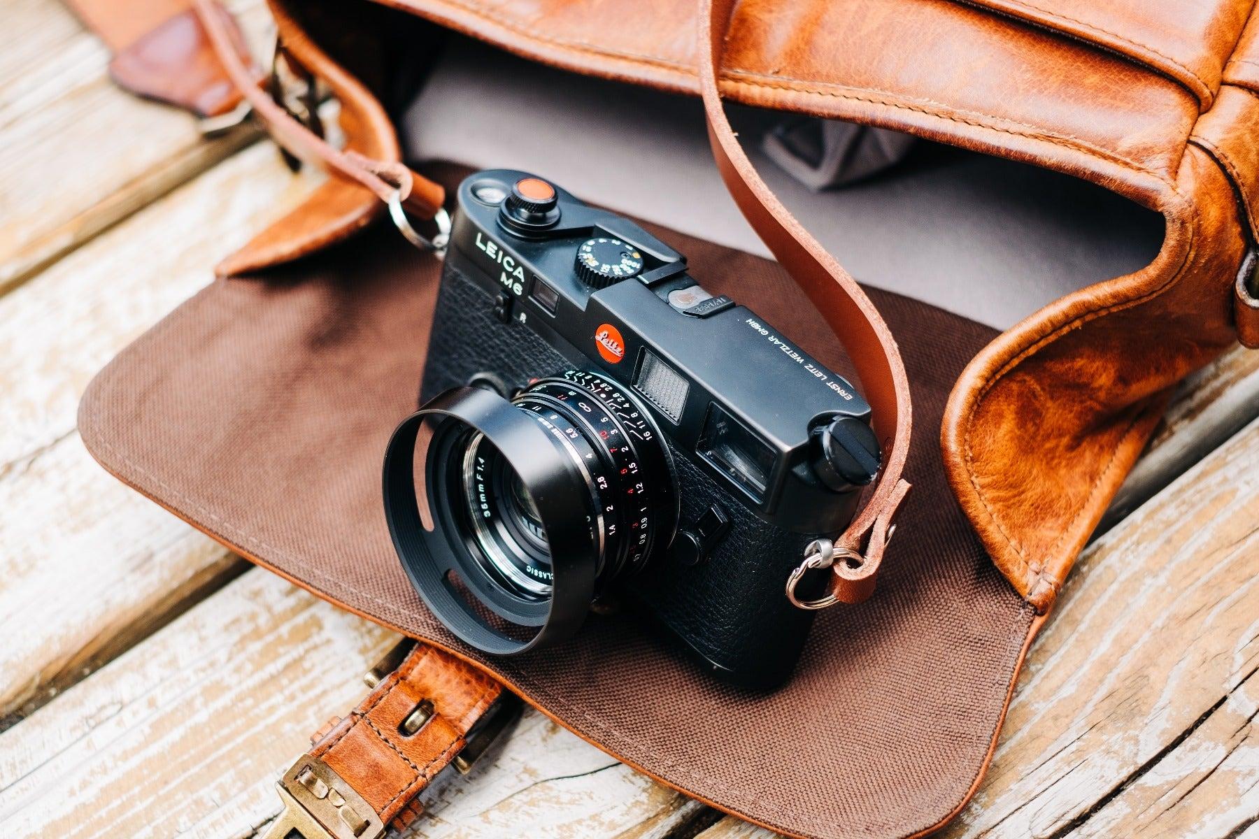 Leica M6 camera with ONA Bowery bag