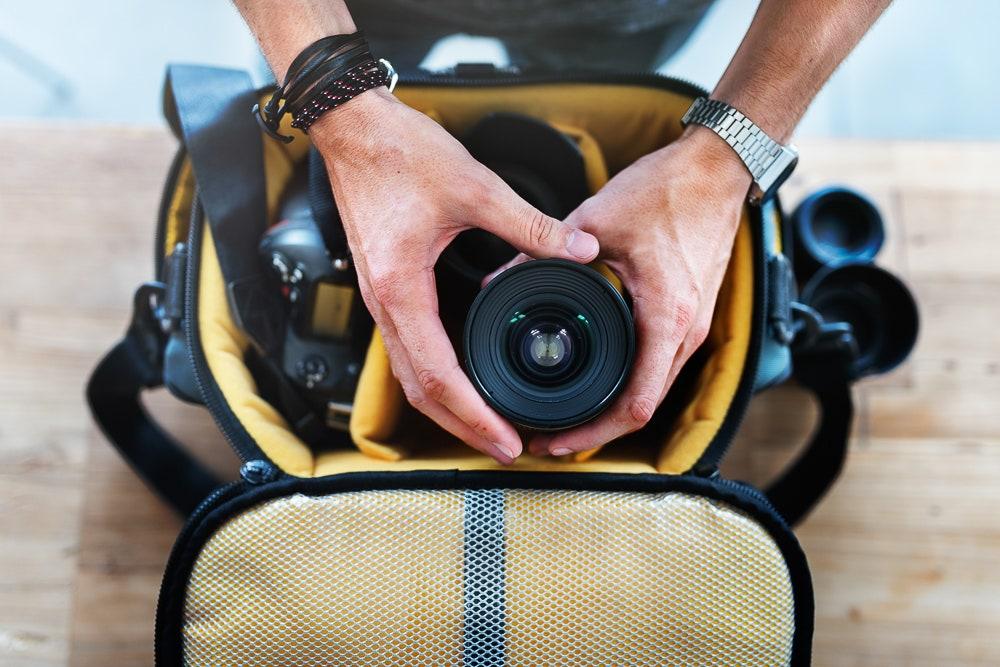Camera bag with lens