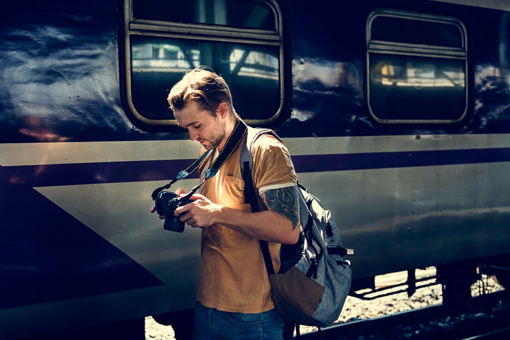 Man on vacation with camera