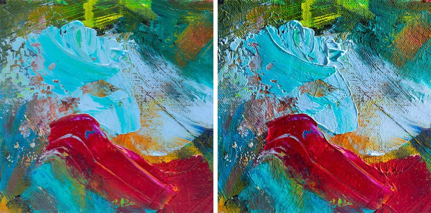 Oil painting lit from different directions