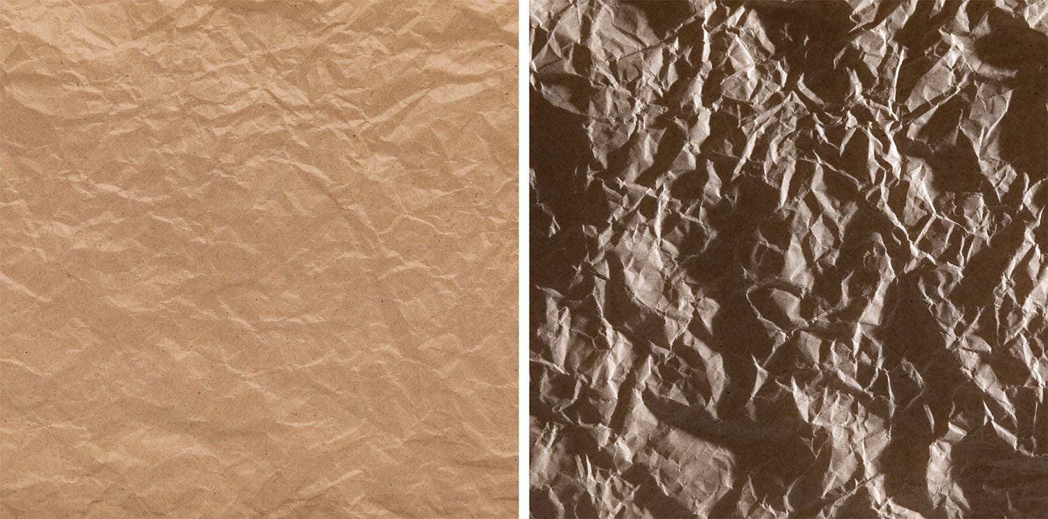 Crumpled paper with light from different directions