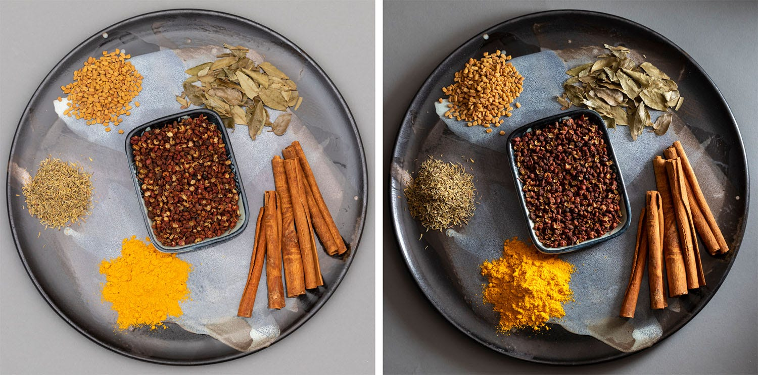 Spices shot with light from different directions