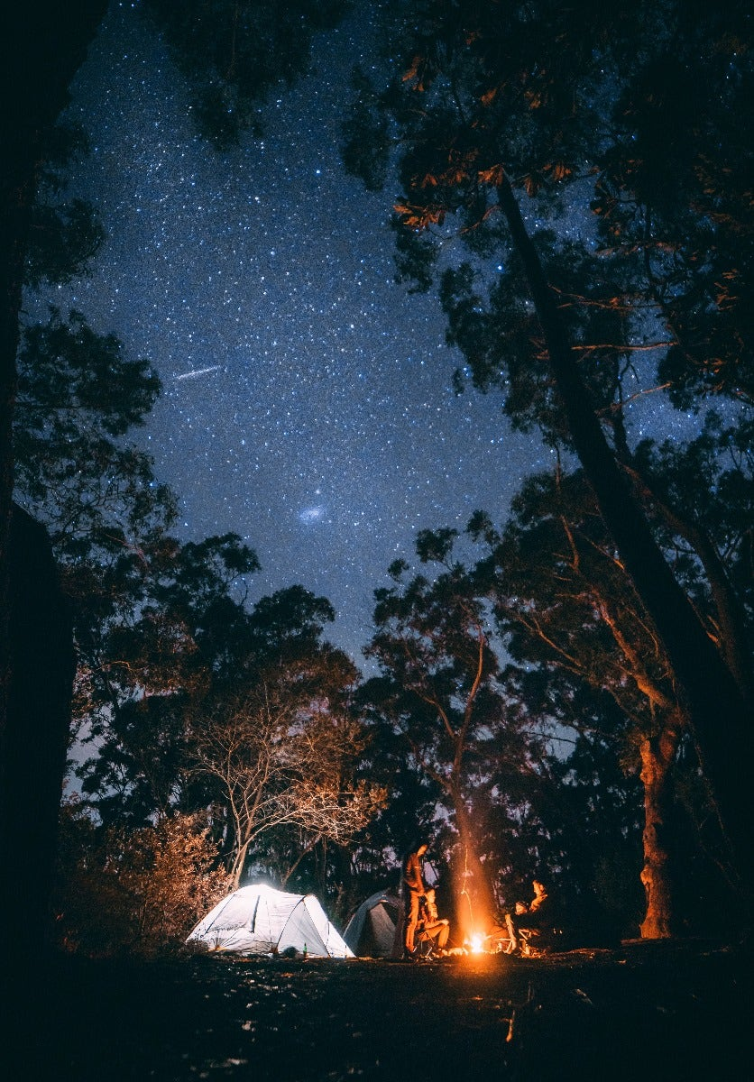 Campsite with stars in background
