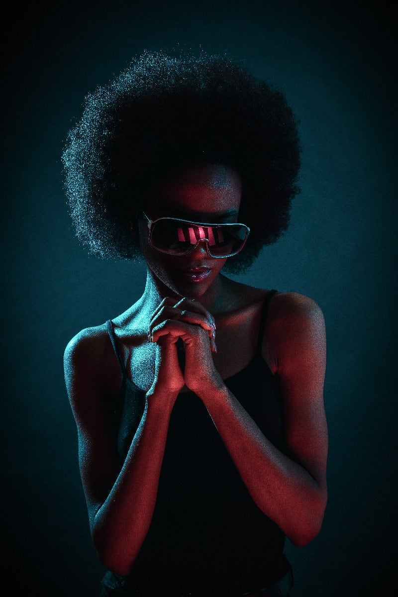 Woman with afro with hair light