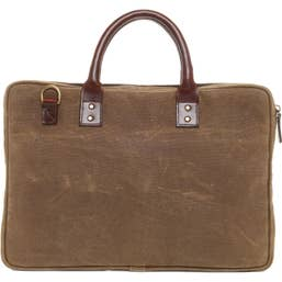 ONA The Kingston Laptop Briefcase Waxed Cotton - Field Tan  (ONA040RT)