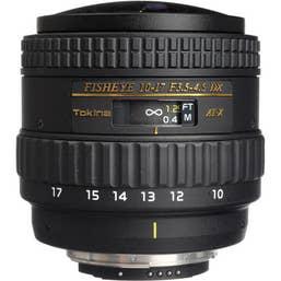 Tokina AT-X 10-17mm f3.5-4.5 Fisheye Lens NO HOOD - Nikon Mount
