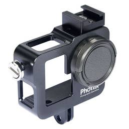 Phottix Cage for Go-Pro Hero 3 3+ and 4, Black Anodized Aluminium w. Cold Shoe & 37mm Filter mount
