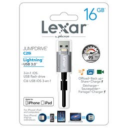 Lexar 16GB JumpDrive C20i Lightning to USB 3.0 Cable with Built-In Flash Drive