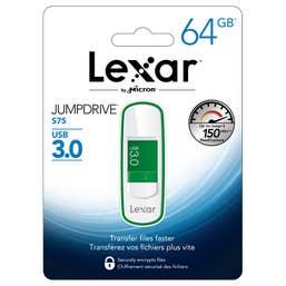 Lexar 64GB JumpDrive S75 USB 3.0 Flash Drive (Green) - LJDS75-64GABANZ
