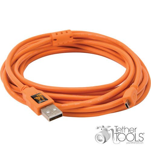 Tether Tools 4.6m TetherPro USB 2.0 Type-A Male to mini-USB Type-B 8-pin Gold-Plated Cable (Hi-Visibility Orange)