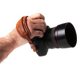 Barber Shop Tight Contour Camera Hand Strap (Grained Brown Leather)