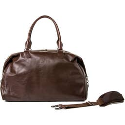 Barber Shop Cesar Cut Leather Traveler Camera Bag (Dark Brown)