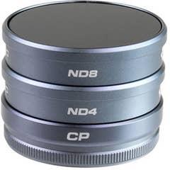 PolarPro 3-Pack Filter Kit Suits DJI Phantom 4 & 3 (CP, ND4, ND8)