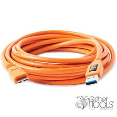 TetherPro USB 3.0 Male Type-A to USB 3.0 Micro-B 15'/4.6m in Orange Hi-ViS  Tether Tools