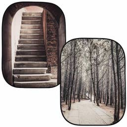 Lastolite Collapsible Background 1.5 x 2.1m - Stone Steps / Winter Trees