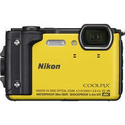 Nikon COOLPIX W300 Digital Camera (Yellow) with Nikon Silicone Protection Jacket.