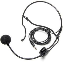 "Azden HS-12H Unidirectional, Behind the Head, Headworn Microphone with Professional 4-Pin ""HIROSE"" Connector"
