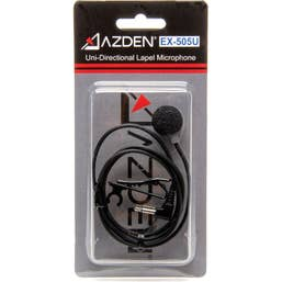 Azden AZDEX-505U Unidirectional Lavalier Microphone with 1/8 inch (3.5mm) Mini-Jack for Use with Azden Pro Series Bodypack Transmitters