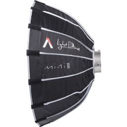 Aputure Light Dome Mini II dual diffuser design with silver interior softbox with grid