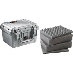 Pelican 1300 Case with Foam Silver
