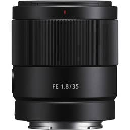 Sony FE 35mm F1.8 Lens for full frame Sony mirrorless, compact wide-angle with fast aperture.