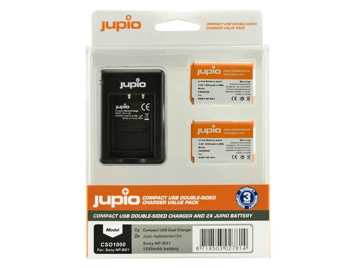 Jupio Duo KIT for Sony includes 2x Battery NP-BX1 + USB Single Charger kit