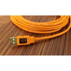 Tetherpro USB 2.0 A to Mini-B 5 Pin, 4.6m, Hi-Vis orange TETHER TOO