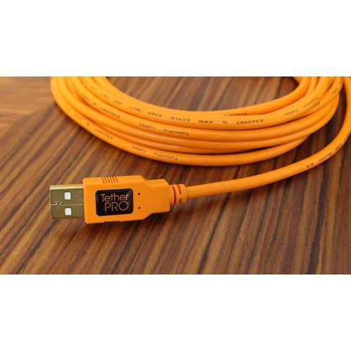 Tether Tools TetherPro USB 2.0 Type-A to 5-Pin Mini-USB Cable (Orange, 15')
