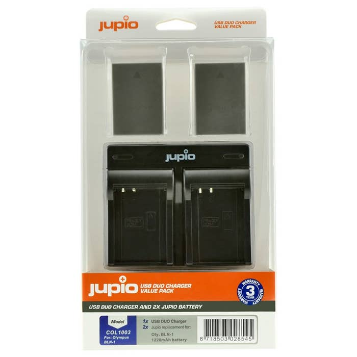 Jupio Olympus BLN-1 Twin Battery + Charger Kit
