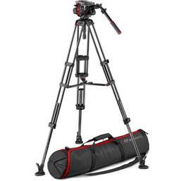 Manfrotto 504HD Head & Carbon FiberTwin Leg Video Tripod Kit (100/75mm, Mid-Level Spreader)