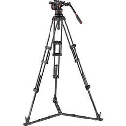 Manfrotto Nitrotech N12 Head & Carbon Fiber Twin Leg Video Tripod Kit Ground Spreader
