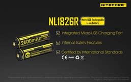 Nitecore 2600mAH Micor USB Rechargeable 18650 Battery