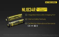 Nitecore 3400mAh Micro USB Recargeable 3.7V 18650 Battery
