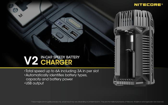 Nitecore In-Car Charger for 2X Battery, 2X USB Output