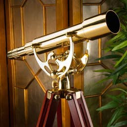 Skywatcher 15-45X50mm Acuter Brass Telescope with Mahogany Floor Tripod