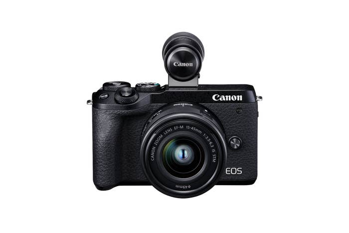 Canon EOS M6 Mark II with EFM15-45 Lens and EVFDC2, Eye AF servo, 32.5MP APS-C CMOS Sensor and DIGIC 8 Image Processor, Dual Pixel CMOS AF even during 4K Video Recording and WIFI sharing.