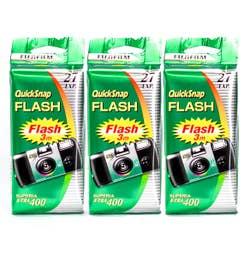 Fujifilm Quicksnap Flash  3 Pk Disposable Camera 27 exp 35mm 400ISO