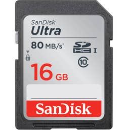 SanDisk 16GB Ultra SDHC 80MB/s Class 10 UHS-I Memory Card